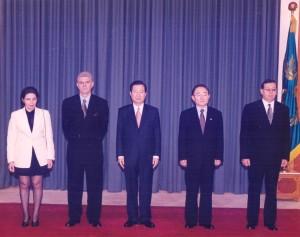 Seulas, Pietų Korėja: su Nobelio taikos premijos laureatu a. a. Pietų Korėjos prezidentu Kim Dae Jung. Asmeninio archyvo nuotr.