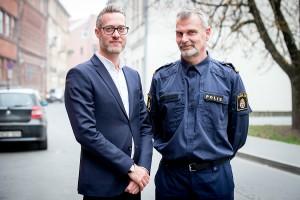 Stokholmo apskrities policijos atstovai Jonas Jonzon (kairėje) ir Göran Stanton (dešinėje). Augusto Didžgalvio nuotr.