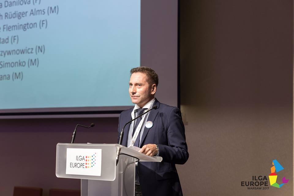 LGL Executive Director Vladimir Simonko gives a speech as a candidate to ILGA-Europe Board