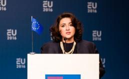 EU conference European Forensic Science Area 2020: the Way Forward (iov ministerie van Veiligheid en Justitie ) Op de foto : Helena Dalli